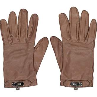 Hermes Brown Leather Gloves