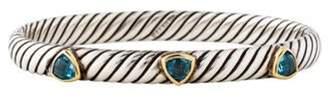 David Yurman 18K Topaz Cable Bangle silver 18K Topaz Cable Bangle