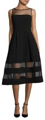 Aidan Mattox Crepe Mesh Fit-&-Flare Dress