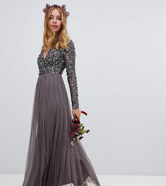 Maya Petite long sleeve wrap front maxi dress with delicate sequin and tulle skirt in charcoal