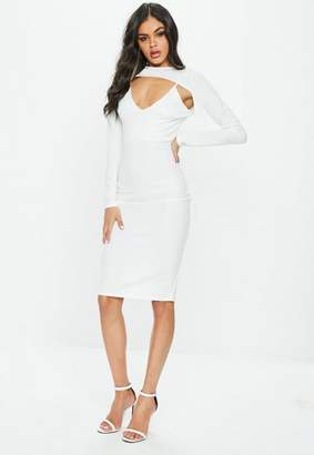 Missguided White Long Sleeve 2 Piece Midi Dress