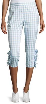Moschino Ruffled-Trim Gingham Capri Pants