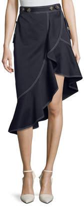 Self-Portrait Flounce Canvas Asymmetric Skirt
