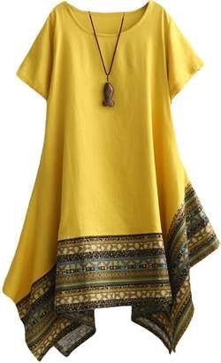 Minibee Women's Ethnic Cotton Linen Short Sleeves Irregular Tunic Dress XL