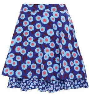 Kate Spade Layered Floral-print Silk Mini Skirt
