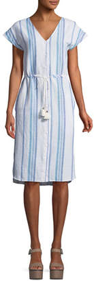 Splendid Tapestry Stripe Button-Front V-Neck Dress