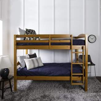 Walker Edison Solid Wood Twin Over Twin Bunk Bed - Cherry