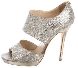 Jimmy Choo Glitter Ankle Strap Sandals Gold Glitter Ankle Strap Sandals
