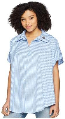 Vince Camuto Embroidered Gingham Boyfriend Button Up Topper Women's Clothing