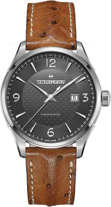 Hamilton Jazzmaster Viewmatic Auto Ostrich Leather Strap Watch, 44mm
