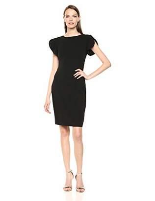Calvin Klein Women's Round Neck Sheath with Split Short Sleeves Dress