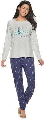 7db070e9ff Sonoma Goods For Life Women s SONOMA Goods for Life Holiday Graphic Tee    Joggers Pajama Set