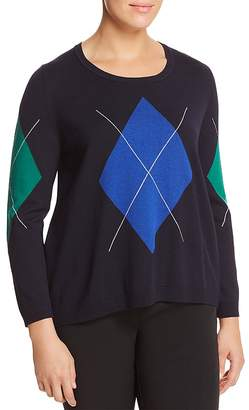 Marina Rinaldi Acrobata Argyle & Striped Back Panel Sweater