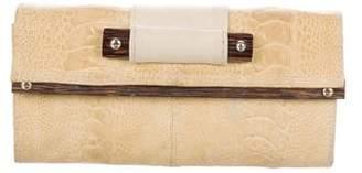R & Y Augousti R&Y Augousti Wooden-Trimmed Ostrich Wallet