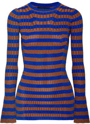 By Malene Birger Striped Metallic Ribbed-knit Sweater - Cobalt blue