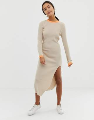 Asos DESIGN rib knit dress with front split