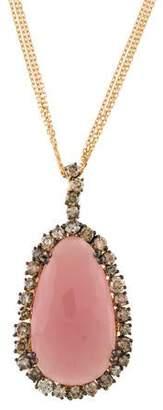 Suzanne Kalan 18K Rose Quartz & Diamond Pendant Necklace