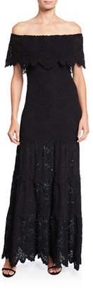 Nightcap Clothing Spanish Lace Positano Off-the-Shoulder Maxi Dress