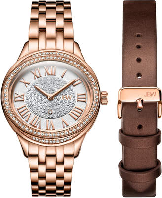 JBW J6366-SetC Rose Gold-Tone Plaza Diamond Watch & Band Set