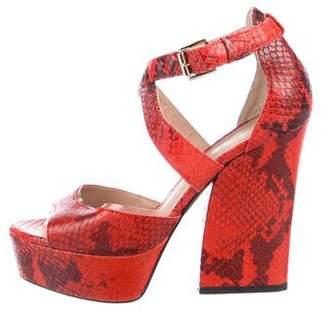 Pour La Victoire Embossed Leather Platform Sandals
