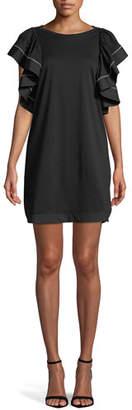See by Chloe Ruffle-Sleeve Shift Mini Dress
