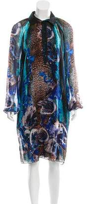 Alberta Ferretti Digital Print Silk Dress w/ Tags