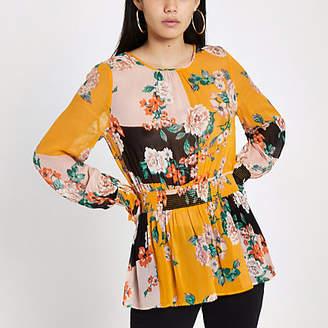 River Island Womens Orange floral print shirred blouse