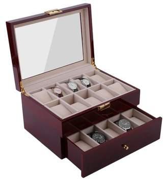 OCDAY 20 Grids Elegant Wood Wrist Watch Display Case Jewelry Accessories Collection Storage Holder Gift Box Organizer