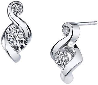 Sirena Juno Lucina 1/4 CT. T.W. Diamond 14K White Gold Swirl Stud Earrings
