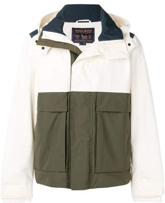 Woolrich colour block hooded jacket