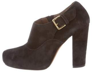 Marni Buckle-Accented Round-Toe Booties Black Buckle-Accented Round-Toe Booties