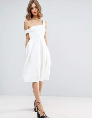 ASOS Scuba Asymmetric Midi Debutante Dress $87 thestylecure.com