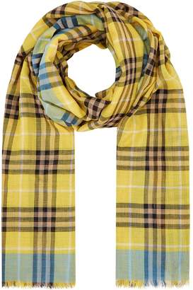 Burberry Wool-Silk Check Print Scarf