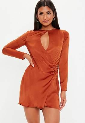 Missguided Rust Satin Keyhole Wrap Shift Dress