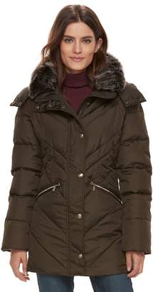 London Fog Tower By Women's TOWER by Faux-Fur Trim Puffer Coat