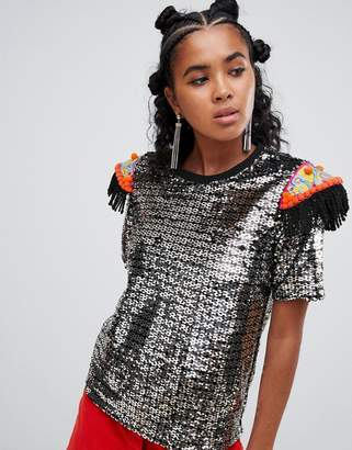 d45765dc6d Ragyard t-shirt in sequin with beaded patches