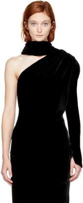 Gareth Pugh Black Velvet Scarf Single-Sleeve Blouse
