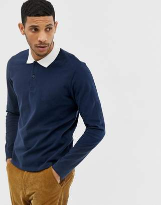 Jack and Jones long sleeve rugby shirt in navy with contrast collar