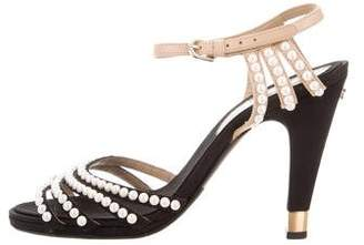Chanel Faux Pearl-Embellished Sandals