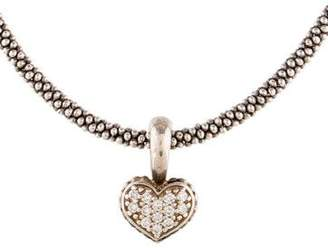 Lagos Diamond Caviar Heart Pendant Necklace