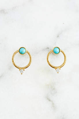Tai Textured Circle Turquoise and CZ Stud Earrings