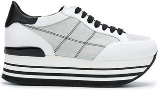 Hogan checkered stitch flatform sneakers