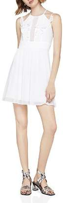 BCBGeneration Ruffled Pintuck Fit-and-Flare Dress
