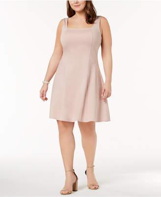 Soprano Trendy Plus Size Square-Neck Fit & Flare Dress