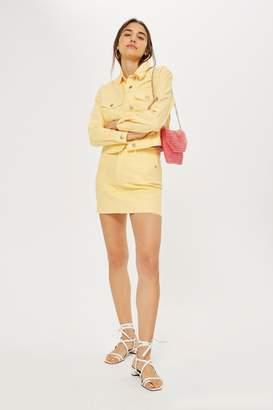 Topshop Yellow High Waisted Denim Skirt