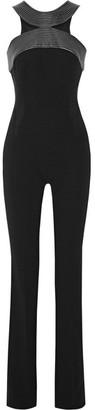 Mugler - Embroidered Leather-trimmed Crepe Halterneck Jumpsuit - Black $2,385 thestylecure.com