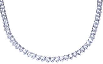 Diamonique 12.70 cttw Round Tennis Necklace, Platinum Clad