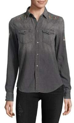 Mother Graphic Denim Button-Down Shirt