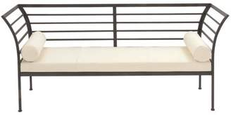 DecMode Decmode Contemporary 32 X 71 Inch Rectangular Black Iron Bench With White Cushioned Seat