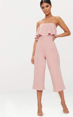 283234871b2 PrettyLittleThing Grey Bardot Double Layer Culotte Jumpsuit